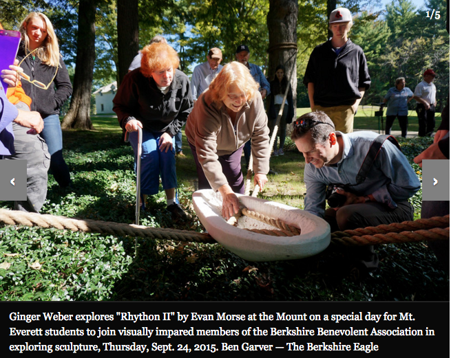 "Ginger Weber explores ""Rhython II"" by Evan Morse at the Mount on a special day for Mt. Everett students to join visually impaired members of the Berkshire Benevolent Association in exploring sculpture, Thursday, Sept. 24, 2015. Ben Garver — The Berkshire Eagle"